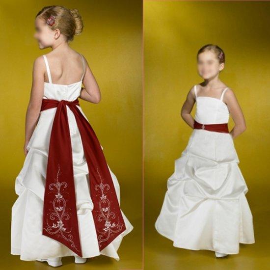 Free Shipping/A-line/Spaghetti/Satin/Ankle-Length/Flower girls dresses/FL007