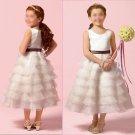 Free Shipping/A-line/Sleeveless/Satin&Organza/Tea-Length/Flower girls dresses/FL012