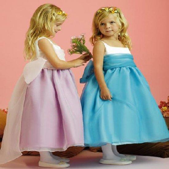 Free Shipping/A-line/Strapless/Satin&Organza/Tea-Length/Flower girls dresses/FL032