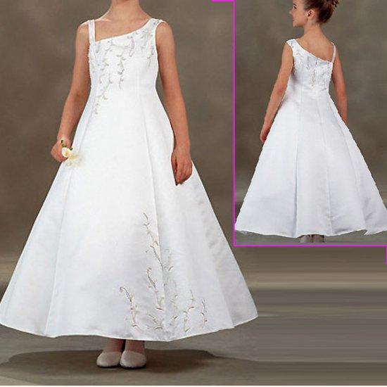 Free Shipping/A-line/sloping shoulder/Satin/Ankle-Length/Flower girls dresses/FL035