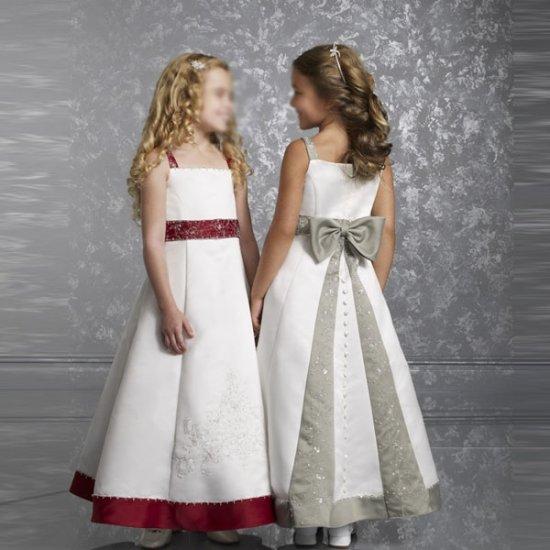 Free Shipping/A-line/Spaghetti/Satin/Ankle-Length/Flower girls dresses/FL052