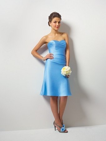 Free Shipping!Acctractive/Strapless/Knee-Length/Stratch Satin/A-Line evening dress/party dress/LF001