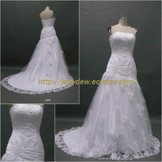 Free Shipping/A-line/Strapless/Satin&Lace/Court train/Bridal Wedding Dress/CWD016