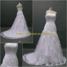 Free Shipping/A-line/Strapless/Satin&Lace/Court train/Bridal Wedding Dress/CWD016