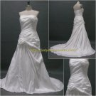 Free Shipping/A-line/Strapless/Chiffon/Sweep Length train/Bridal Wedding Dress/CWD124