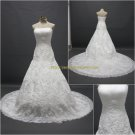 Free Shipping/A-line/Strapless/Satin&Organza/Court Train/Bridal Wedding Dress/CWD130