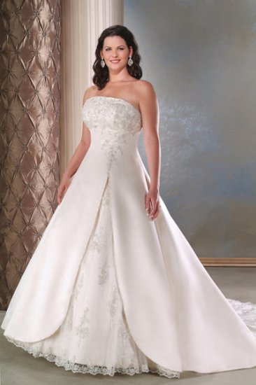 Free Shipping/A-line/Strapless/Satin/Court Train/Bridal Wedding Dress/PS019