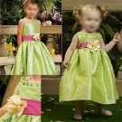 Free Shipping/A-line/Spaghetti/Taffeta/Tea-Length/Flower girls dresses/FG019