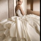 Free Shipping/2011 New arrival/A-line/Strapless/Satin/Chapel train/Bridal Wedding Dress/GG002