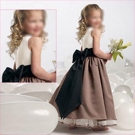 Free Shipping/A-line/Sleeveless/Satin/Ankle-Length/Flower girls dresses/FG027