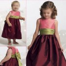 Free Shipping/A-line/Sleeveless/Taffeta/Tea-Length/Flower girls dresses/FG025