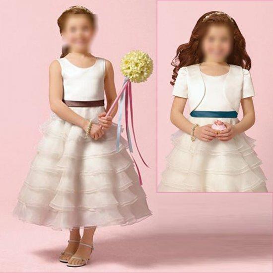 Free Shipping/A-line/Sleeveless/Satin&Organza/Tea-Length/Flower girls dresses/FG015
