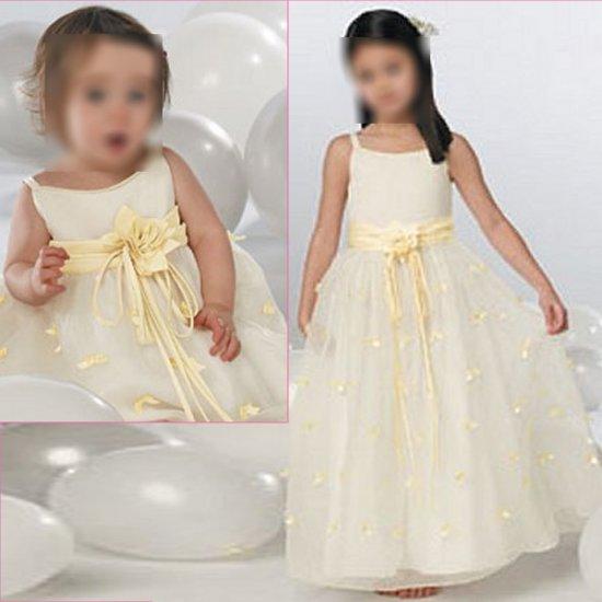 Free Shipping/A-line/Spaghetti/Satin&Organza/Ankle-Length/Flower girls dresses/FG023
