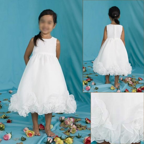 Free Shipping/A-line/Sleeveless/Taffeta/Tea-Length/Flower girls dresses/FG060