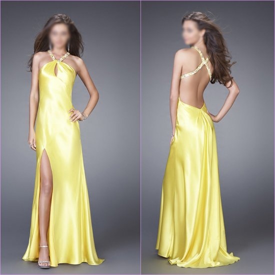 Free Shipping/A-Line/Halter/Satin/Floor-Length/Evening dress/wedding gown/LN007