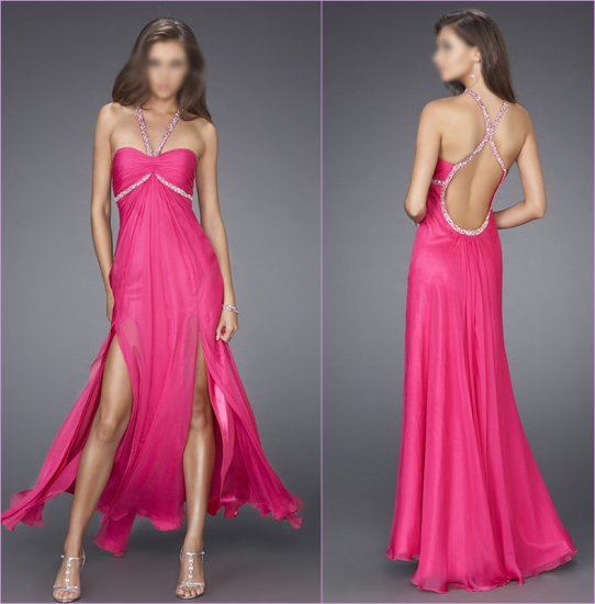Free Shipping/A-Line/Sweatheart/Halter/Chiffon/Floor-Length/Evening dress/wedding gown/LN011