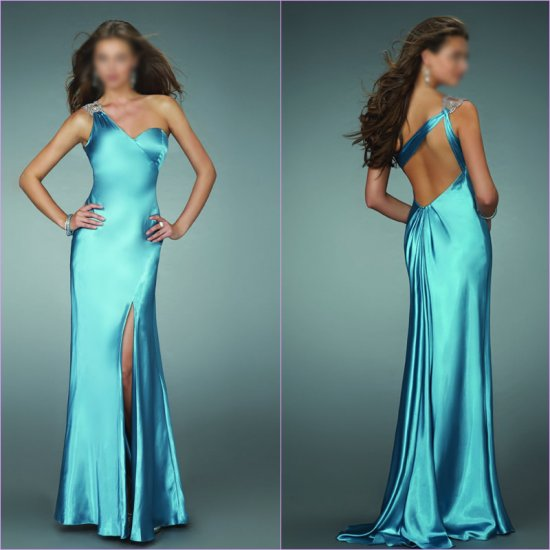 Free Shipping/A-Line/One-shoulder/Satin/Floor-Length/Evening dress/wedding gown/LN016