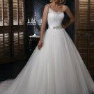 Free Shipping/A-line/One-shoulder/Satin&Mesh/Chapel train/Bridal Wedding Dress/GG113