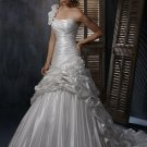 Free Shipping/A-line/One-shoulder/Satin/Chapel train/Bridal Wedding Dress/GG123