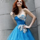 Free Shipping/A-Line/Strapless/Satin&Organza/Mini-Length/Evening dress/wedding gown/PE013