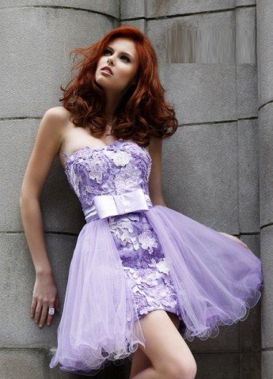 Free Shipping/Sheath/Strapless/Satin&Organza/Mini-Length/Evening dress/wedding gown/PE015