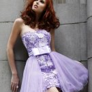 Free Shipping/Sheath/Strapless/Satin&Organza/Mini-Length/Evening dress/wedding gown/PE015