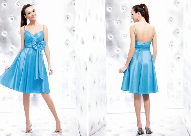 Free Shipping/A-Line/Spaghetti/Taffeta/Mini-Length/Evening dress/wedding gown/P8031