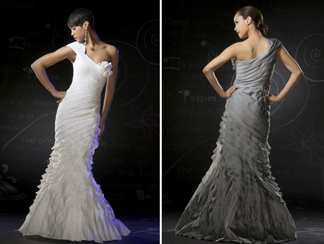 Free Shipping/A-Line/One-Shoulder/Chiffon/Floor-Length/Evening dress/wedding gown/P8046