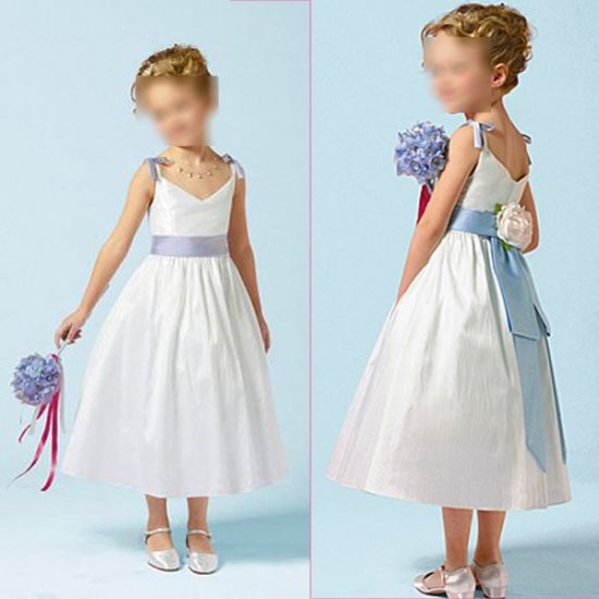 Free Shipping/A-line/Sleeveless/Satin&Organza/Tea-Length/Flower girls dresses/FG009