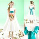 Free Shipping/A-line/Sleeveless/Satin/Tea-Length/Flower girls dresses/FG058