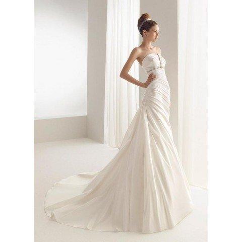 Free Shipping/A-line/Strapless/Satin/Chapel train/Bridal Wedding Dress/YY242