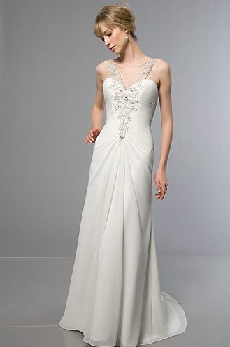 Free Shipping/A-line/Sweatheart/Satin&Chiffon/Floor Length/Bridal Wedding Dress/YY325