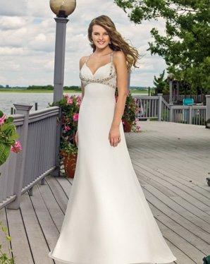 Free Shipping/A-line/Spaghetti/V-neck/Satin/Floor Length/Bridal Wedding Dress/YY327