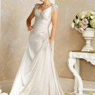 Free Shipping/A-line/Sleeveless/V-neck/Satin/Floor Length/Bridal Wedding Dress/BR58