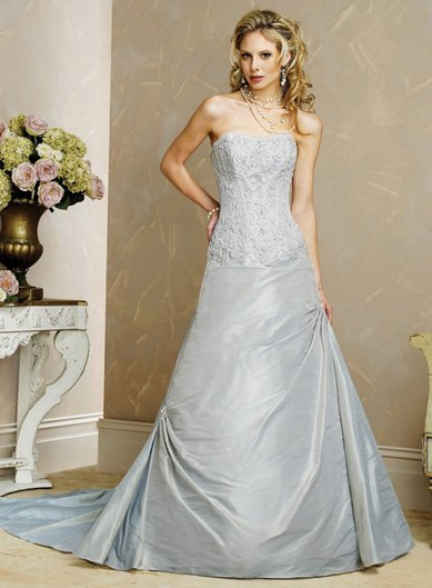 Free Shipping/A-line/Strapless/Sweatheart/Taffeta/Chapel train/Bridal Wedding Dress/BR66