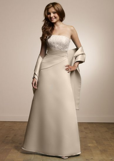 Free Shipping/A-Line/Strapless/Satin/Floor-Length/Evening dress/wedding gown/BU46