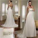 Free Shipping/2011 New arrival/A-line/Spaghetti/Satin&Chiffon/Floor Length/Wedding Dress/A1002