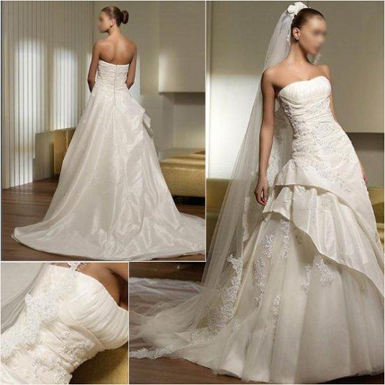Free Shipping/2011 New arrival/A-line/Sweatheart/Taffeta/Chapel train/Wedding Dress/A1003