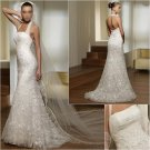 Free Shipping/2011 New arrival/A-line/Strapless/Satin&Lace/Chapel train/Wedding Dress/A1005