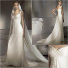 Free Shipping/2011 New arrival/A-line/V-neck/Satin&Chiffon/Floor Length/Wedding Dress/A1006
