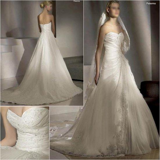 Free Shipping/2011 New arrival/A-line/Sweatheart/Taffeta/Chapel train/Wedding Dress/A1007