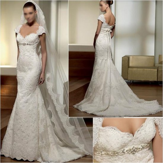 Free Shipping/2011 New arrival/A-line/Cap Sleeve/Satin/Chapel train/Wedding Dress/A1010