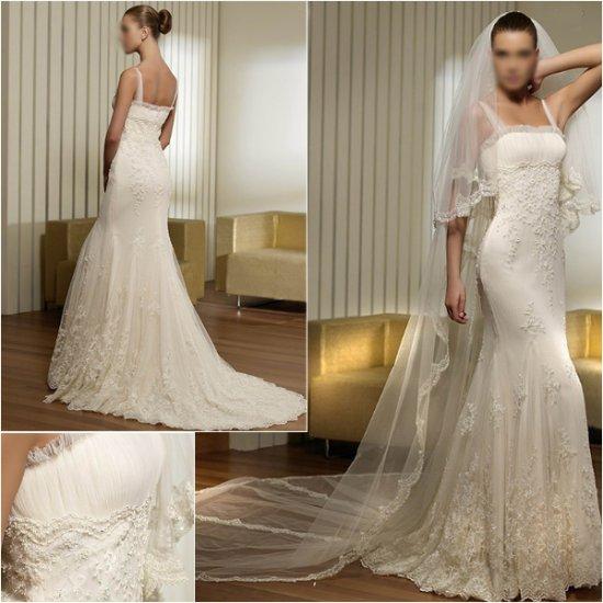 Free Shipping/2011 New arrival/A-line/Spaghetti/Satin&Mesh/Floor Length/Wedding Dress/A1011