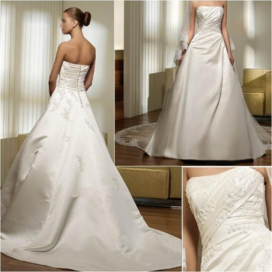 Free Shipping/2011 New arrival/A-line/Strapless/Satin/Chapel train/Wedding Dress/A1012