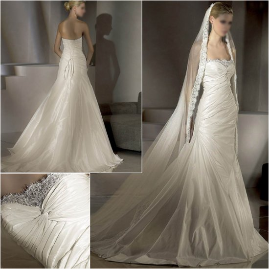 Free Shipping/2011 New arrival/A-line/Strapless/Taffeta&Lace/Chapel train/Wedding Dress/A1014