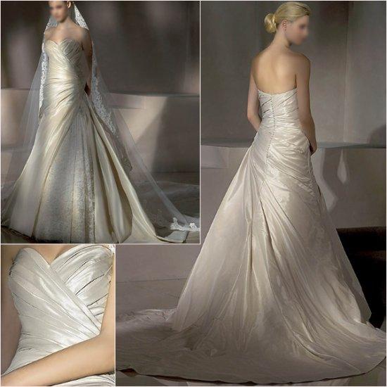 Free Shipping/2011 New arrival/A-line/Sweatheart/Taffeta&Lace/Chapel train/Wedding Dress/A1015