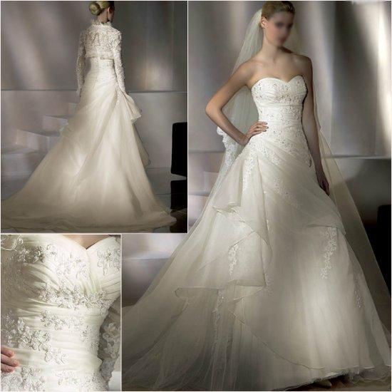 Free Shipping/2011 New arrival/A-line/Sweatheart/Satin&Organza/Chapel train/Wedding Dress/A1016
