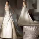 Free Shipping/2011 New arrival/A-line/Strapless/Satin/Chapel train/Wedding Dress/A1018