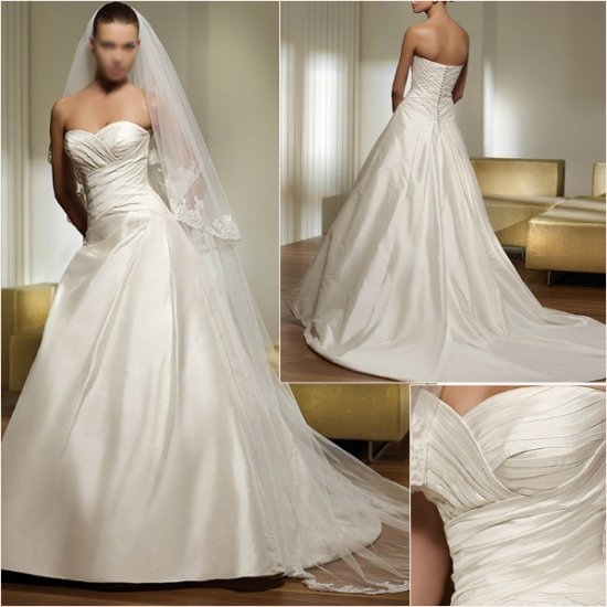 Free Shipping/2011 New arrival/A-line/Sweatheart/Satin/Chapel train/Wedding Dress/A1021