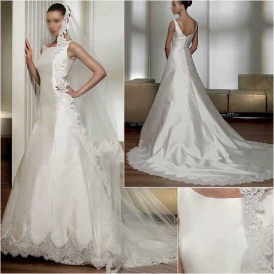Free Shipping/2011 New arrival/A-line/Sleeveless/Satin/Chapel train/Wedding Dress/A1023